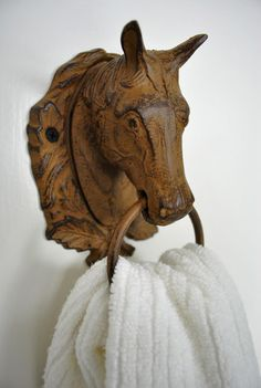 Thrift store horse turned towel ring. I so love!