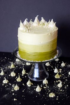miettes amazing, moist hot milk cake; with matcha american buttercream and homemade matcha meringue kisses