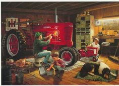 The farmer tunes up his Farmall IH tractor, while the kids work on their red pedal tractor. Another great children's farm print from artist Charles Freitag. Tractor Pictures, Farm Pictures, Farmall Tractors, Old Tractors, Case Tractors, Pedal Tractor, Tractor Mower, Farm Paintings, Forever Red