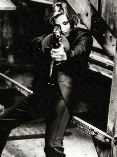 Mylene Farmer with minigun