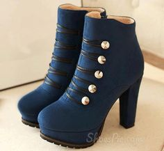 Retro Platform Chunky Heels Ankle Boots with Buttons