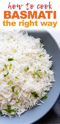 Learn how to cook Basmati Rice 3 ways: stovetop, instant pot, traditional pressure cooker so that you have perfect soft, fluffy rice every single time. This is an Indian recipe that's fool proof and time tested! - How to cook Basmati Rice 3 Ways Basmati Rice Recipes, Cooking Basmati Rice, Easy Rice Recipes, Cooking Rice, Easy Cooking, Indian Food Recipes, Vegetarian Recipes, Cooking Recipes, Healthy Recipes