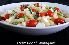 Caprese pasta salad. Made this today. Very good!  Doubled the dressing and drizzled with regular balsamic.