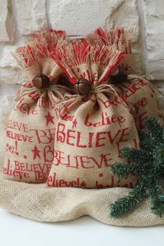 Reserved Listing for Burlap Gift Bags Shabby Chic Christmas Wrapping Red and Natural Believe Jingle Bell Tie On Set of Four Shabby Chic Christmas, Burlap Christmas, Noel Christmas, Primitive Christmas, Christmas Wrapping, Christmas Projects, Family Christmas, All Things Christmas, Xmas