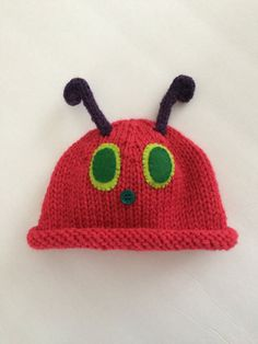 5784c1441da49 Items similar to Handknit Red Caterpillar Hat for Baby s First Photo on Etsy