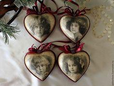 Купить набор сердечек интерьерные винтажные керамические - бордовый, елочные игрушки, елочные игрушки
