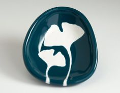 small ceramic bowl - ginkgo leaves in dark teal blue $24