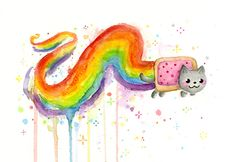 Nyan-Cat Watercolor. More of my workHERE.Prints, shirts, phone cases, tote bags, pillows and moreHERE.