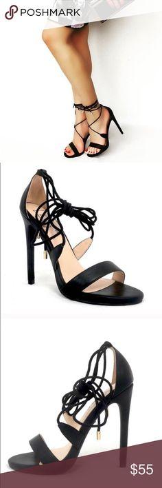 """🆕🌟Tamara - 5 Black Heels Faux Leather Black High Heel. Ties up around ankle. Heel height approx 4 3/4"""" Shoes Heels"""