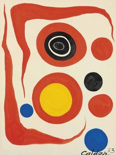 Alexander Calder , Two Red Boomerangs Alexander Calder, Tech Logos, Drawings, Watercolors, 1970s, Red, Painting, Water Colors, Painting Art