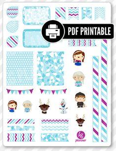 Frozen Friends Decorating Kit PDF PRINTABLE Planner Stickers for Erin Condren Planner, Filofax, Plum Paper
