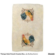 Vintage Style French Country Rustic Barn Rooster Hand Towels