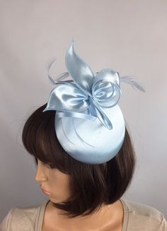 Pale Blue Satin Fascinator Occasion Wedding Mother Of The Bride Ascot Races  | eBay