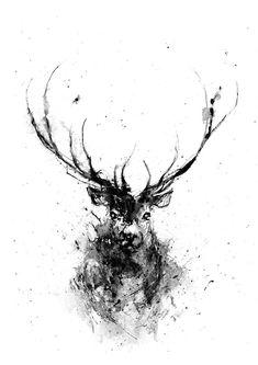 Deer Deer Head Animal Art Print Deer Art Black and by ArtByJoonas