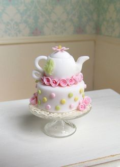 Miniature Dollhouse Food Tea Pot Cake Pink by GoddessofChocolate Pretty Cakes, Cute Cakes, Beautiful Cakes, Amazing Cakes, Fancy Cakes, Mini Cakes, Fondant Cakes, Cupcake Cakes, Pizza Cupcakes