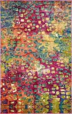 """Multi Casablanca Area Rug $556.00. This Turkish Casablanca rug is made of Polypropylene. This rug is easy-to-clean, stain resistant, and does not shed. Colors found in this rug include: Multi, Cream, Light Blue, Navy Blue, Gray, Gold, Green, Burgundy, Orange, Purple, Violet, Pink. The primary color is Multi. This rug is 1/2"""" thick. The measurements for this rug are: 5 feet 0 inches wide by 8 feet 0 inches long."""