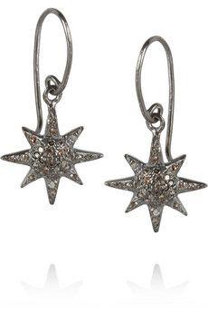 IAM by Ileana Makri Oxidized sterling silver diamond earrings   THE OUTNET