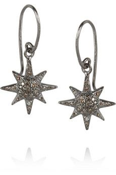 IAM by Ileana Makri Oxidized sterling silver diamond earrings | THE OUTNET