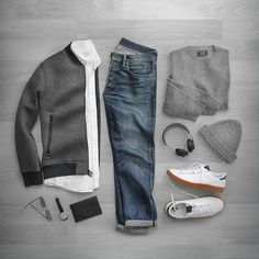 Here's an outfit grid of the day. The outfit is perfect for winter. I am a huge fan of wearing grey. The outfit may not be a good fit for a more formal places but works perfectly in the offic… #mens #fashion