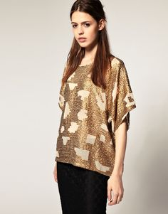 4d38b439fb ASOS -- ASOS Sequined Batwing T-Shirt Gold Top
