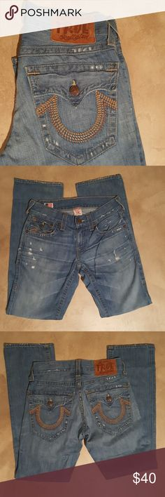 True religion men's jeans True religion men's jeans, light deliberate distressing and whiskering. Med/Light wash denim. A little wear at bottom. Great condition! True Religion Jeans Straight