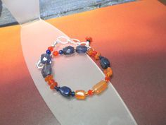 Denver Broncos Blue and Orange Gemstone Bracelet by joolrylane, $29.00