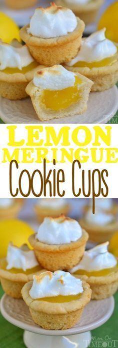 Sugar cookie cups pair perfectly with the refreshingly tart lemon curd filling in these Lemon Meringue Cookie Cups! | Mom On Timeout