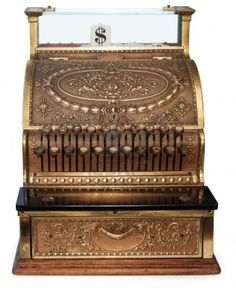 old fashioned cash register, orthographic view on white background Stock Photo - 7057313
