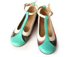 Leather and fabric girls shoes by QuieroJune on Etsy