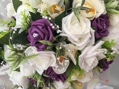 These beautiful, natural bouquets consist of realistic ivory orchids, roses and foliage. They are adorned with delicate pearl loops and are finished off with a