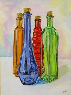 Original Still Life Painting by Leslie Lane Still Life Drawing, Painting Still Life, Still Life Art, Bottle Drawing, Bottle Painting, Bottle Art, Sketchbook Assignments, A Level Art Sketchbook, Composition Painting