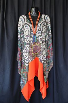 100 silk Chiffon Paisley Print Kaftan with solid by MollyKaftans, $159.00