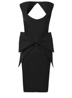 Robe noire sans manches à gros nœud - Robes de Soirée   - Robes 55€