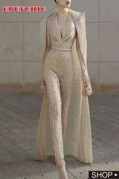 [New In Shop Now] Fashion V Neck Pure Colour Jumpsuit There are a lot of sexy fashion design jumpsuits, evening dresses, coats. The best choice for you, Collar Dress, Women's Fashion Dresses, Fashion Jumpsuits, Womens Jumpsuits, Fashion Clothes, Mode Style, Latest Fashion For Women, Womens Fashion, Elegant Dresses
