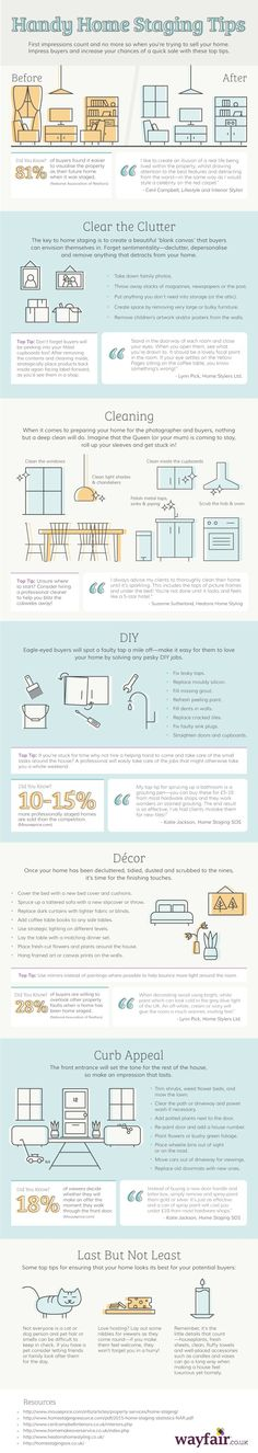 Home staging tips and inspiration to tackle every aspect of your home ready to sell. Infographic with Home Staging Tips. Stage your house to sell.