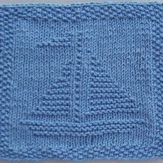 This knit dishcloth pattern is a sailboat. The boat has two sails from a center mast. The sail to the right is larger than the one on the left. There is a small flag at the top of the mast waving to the left. **All purchases are for a downloadable PDF file of the knitting …