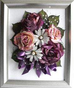 """Bride's bouquet, preserved and framed using instructions from the book, """"Preserve Your Own Bridal Bouquet in Six Easy Steps"""" by Ellen Bowman. Beach Wedding Flowers, Bridal Flowers, Floral Wedding, Flower Crafts, Flower Art, Diy Flower, How To Preserve Flowers, Preserve Bouquet, Preserving Flowers"""