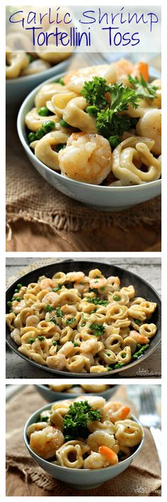 Garlic Shrimp Tortellini Toss ~ http://www.julieseatsandtreats.com