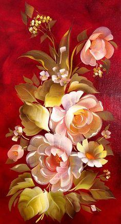 Gallery.ru / Фото #161 - роспись - pskov-sveta Pretty Backgrounds, Wallpaper Backgrounds, Wallpapers, Tole Painting, Fabric Painting, Beautiful Artwork, Beautiful Flowers, Pintura Tole, Floral Vintage
