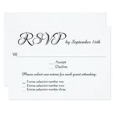 Wedding Responsecards 3 Entree Menu Choices Rsvp Response Card