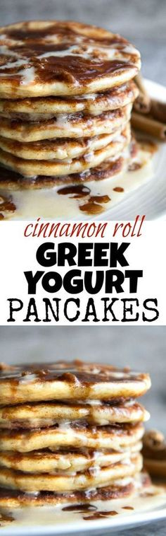 Cinnamon Roll Greek Yogurt Pancakes - these DELICIOUS light and fluffy pancakes taste just like a warm cinnamon roll and will keep you satisfied all morning with over 20g of whole food protein!   runningwithspoons.com #glutenfree #healthy #breakfast #recipe