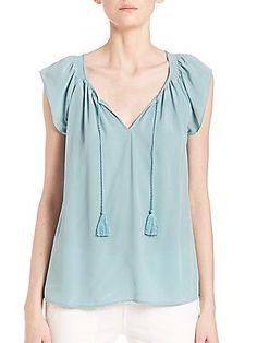 Joie Cotati Silk Top - Haze Blue - Size