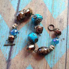 Southwest Boho Beaded Bracelet, Blue and Brown Beaded Bracelet, Southwest Jewelry, Boho Jewelry, Boho Bracelet, Southwestern Bracelet