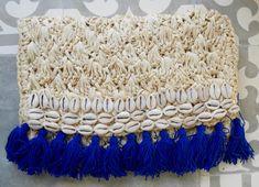 Natural & Cobalt Raffia Shell Clutch Tassel Clutch by ljcdesignss