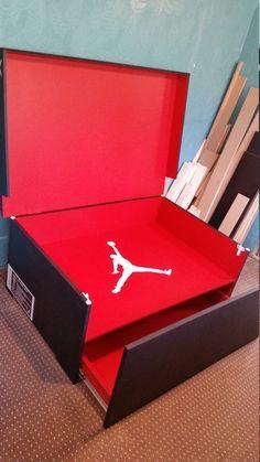 Jordan Shoe Box Storage, Giant Shoe Box Storage, Closet Shoe Storage, Craft Storage, Storage Boxes, Shape Design, Box Design, Sneaker Storage, Amor