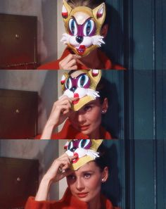 """Cats in Art, Illustration and Photography: Audrey Hepburn dons a cat mask pilfered from Woolworth's in """"Breakfast at Tiffany's,"""" George Peppard, Classic Hollywood, Old Hollywood, Breakfast At Tiffany's Movie, Holly Golightly, My Fair Lady, My Idol, Style Icons, Cute"""