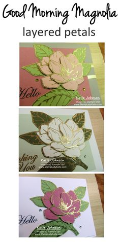 the large die cut flower image from Stampin Up Good Morning Magnolia set can be further layered by fussy cutting the petals. Use a scissors to cut and layer the flower for more dimension to the magnolia flower #stampinup Magnolia Flower, Blog Images, Flower Images, Cut Flowers, Scissors, Good Morning, Stampin Up, Birthday Cards, Layers