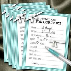 10 Prediction Cards, Baby Shower Party Games, Guessing Game Cards, Baby Gender Reveal Party, Aqua Co Gender Reveal Party Games, Baby Shower Gender Reveal, Gender Reveal Party Invitations, Gender Party Ideas, Ideas Party, Party Fun, Party Themes, Babyshower, Baby Shower Party Games