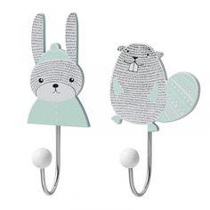 Kinderzimmer-Kleiderhaken 'Hase & Biber' mint/grau, 2er Set
