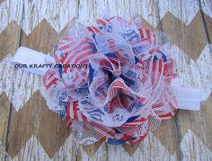 Polyester Hairband, Flag Print, Newborn Headband, Headband for Baby by OurKraftyCreations on Etsy